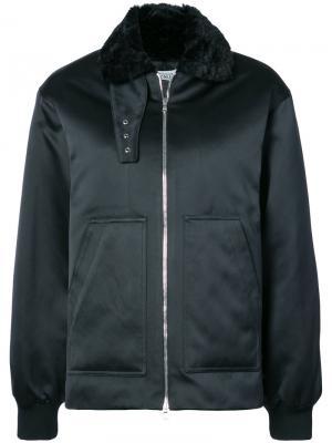 Авиаторская куртка с воротником из искусственного меха Nomia. Цвет: чёрный