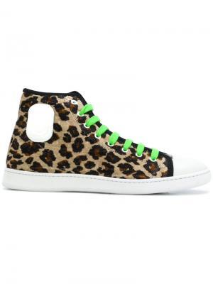 Бархатные кеды с леопардовым принтом Marc Jacobs. Цвет: коричневый