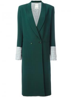 Двубортное пальто с контрастными манжетами Each X Other. Цвет: зелёный