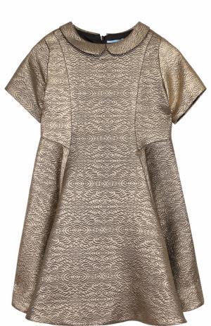 Приталенное мини-платье с металлизированной отделкой Lanvin. Цвет: золотой