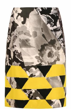 Юбка-миди с принтом Dries Van Noten. Цвет: желтый