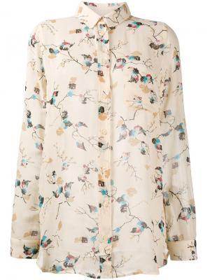 Блузка с узором Ganni. Цвет: телесный