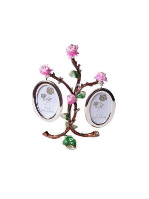 Фоторамка Дерево 2 фото 5х8см PLATINUM quality. Цвет: золотистый, розовый