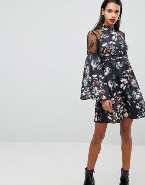 Neon Rose Платье с цветочным принтом и кружевной отделкой. Цвет: черный