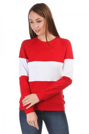 Толстовка классическая женская  White Stripe Красный/Белый Skills. Цвет: красный,белый