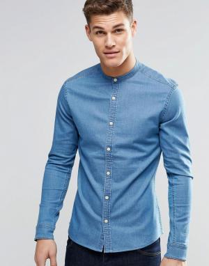 ASOS Джинсовая рубашка скинни с воротом на пуговице. Цвет: синий