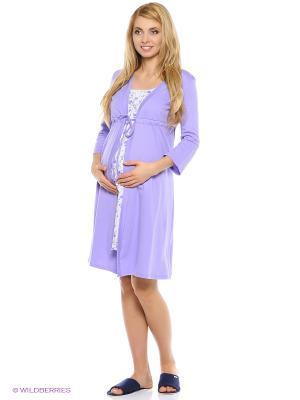 Комплект для беременных и кормящих (халат-пеньюар + сорочка) Hunny Mammy. Цвет: сиреневый