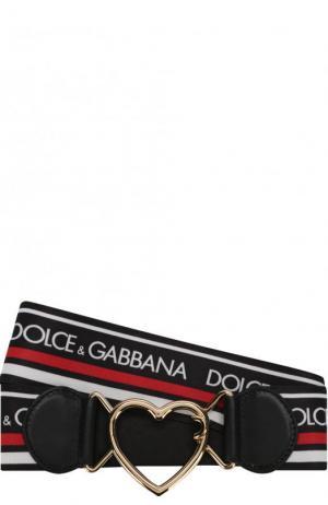 Текстильный ремень с логотипом бренда и фигурной пряжкой Dolce & Gabbana. Цвет: черный