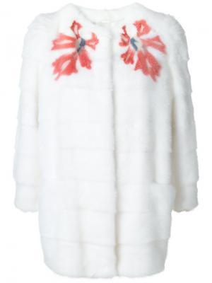 Норковая шуба Sara F Simonetta Ravizza. Цвет: белый