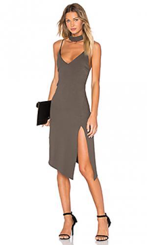 Платье миди nena Backstage. Цвет: оливковый