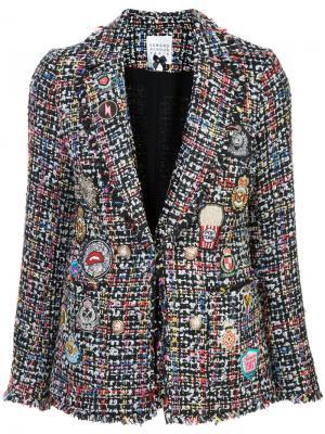 Твидовый пиджак с нашивками Edward Achour Paris. Цвет: многоцветный