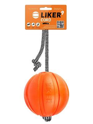 Мячик ЛАЙКЕР Корд на шнуре, 9 см LIKER. Цвет: оранжевый