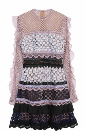 Кружевное приталенное мини-платье с оборками self-portrait. Цвет: разноцветный