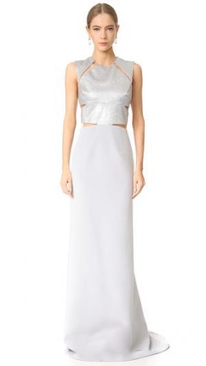 Вечернее платье без рукавов KAUFMANFRANCO. Цвет: титановые кристаллы