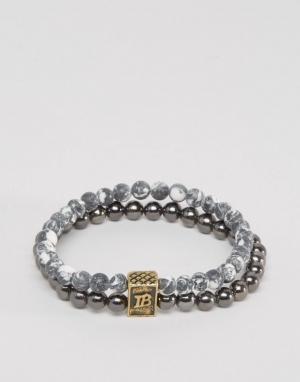 Icon Brand Серый браслет из бусин. Цвет: серый