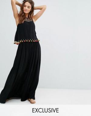 Akasa Пляжное платье макси с помпонами и оборками. Цвет: черный