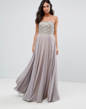 Forever Unique Платье макси с вырезом сердечком. Цвет: серый