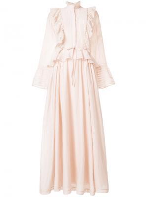 Длинное платье  с рюшами Zadig & Voltaire. Цвет: телесный