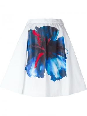 Плиссированная юбка с цветочным принтом Dsquared2. Цвет: белый