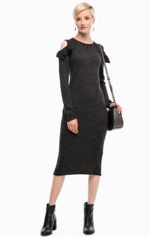 Серое трикотажное платье с длинными рукавами Liu Jo. Цвет: серый