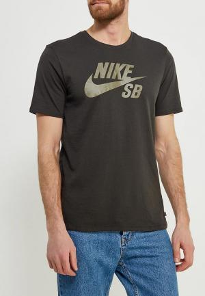 Футболка спортивная Nike. Цвет: хаки