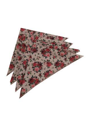 Скатерть Roses + 4 салфетки Камея. Цвет: бежевый, розовый