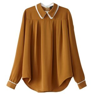 Блузка однотонная с воротником-поло и длинными рукавами SCHOOL RAG. Цвет: темно-бежевый