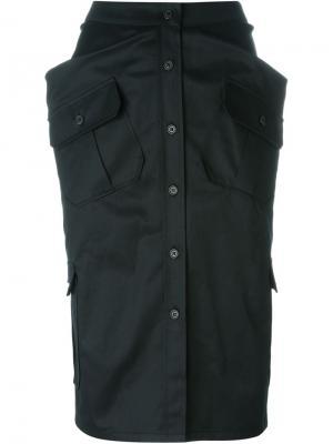Юбка в стиле милитари Chalayan. Цвет: чёрный