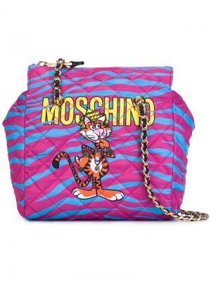 Декорированная сумка на плечо Moschino. Цвет: розовый и фиолетовый