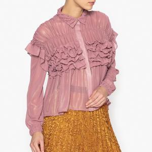 Рубашка объемная с воланами SISTER JANE. Цвет: телесный