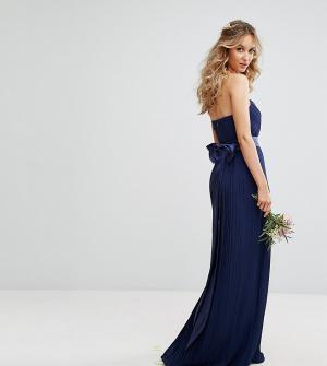 TFNC Платье макси с лифом-бандо и бантом на спине WEDDING. Цвет: темно-синий