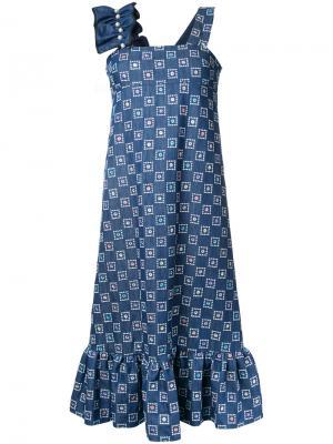 Джинсовое платье с вышивкой Huishan Zhang. Цвет: синий