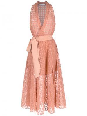 Silk midi dress Giuliana Romanno. Цвет: жёлтый и оранжевый
