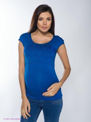 Топ для беременных и кормления 40 недель. Цвет: синий