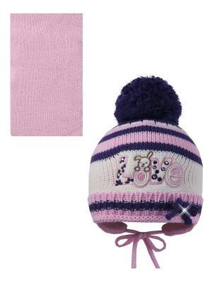 Шапка, шарф Pro-han. Цвет: фиолетовый, молочный, розовый