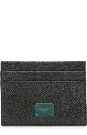 Кожаный футляр для кредитных карт Dolce & Gabbana. Цвет: темно-зеленый