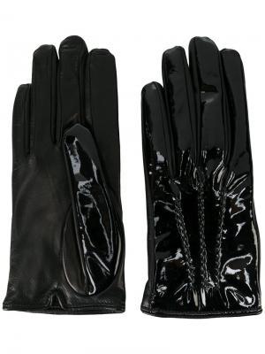Перчатки с декоративной строчкой Mario Portolano. Цвет: чёрный