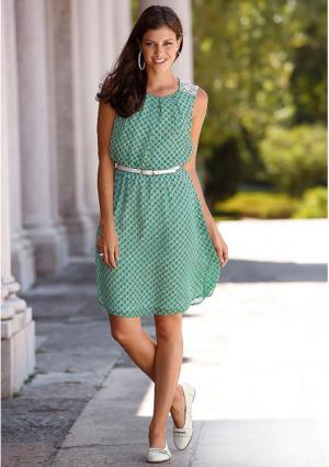 Платье MY STYLE. Цвет: белый/зеленый с рисунком