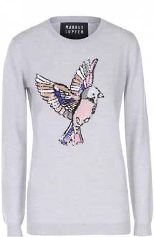 Пуловер прямого кроя с вышивкой пайетками Markus Lupfer. Цвет: светло-серый