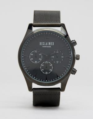 Reclaimed Vintage Черные часы с сетчатым ремешком и хронографом Inspir. Цвет: черный