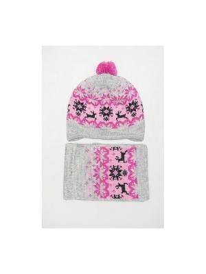 Шапка, шарф Tricotier. Цвет: светло-серый, розовый