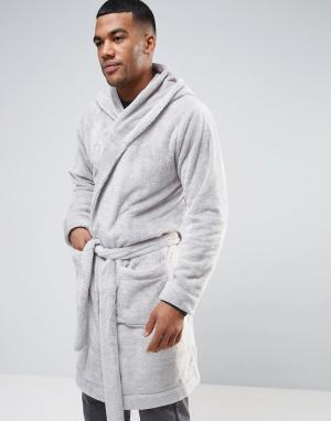 ASOS Флисовый халат с капюшоном. Цвет: серый