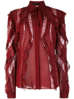 Оборчатая блузка с полупрозрачными вставками Elie Saab. Цвет: розовый и фиолетовый