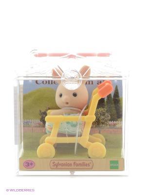 Набор Младенец в пластиковом сундучке  (кролик коляске) Sylvanian Families. Цвет: светло-бежевый