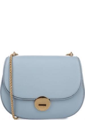 Маленькая кожаная сумка на плечевой цепочке Coccinelle. Цвет: голубой