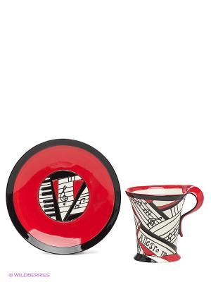 Чайная пара Виртуоз Pavone. Цвет: красный, черный, молочный