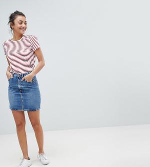ASOS Tall Синяя выбеленная джинсовая юбка с завышенной талией DESIGN. Цвет: синий