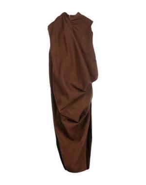 Длинное платье RICK OWENS. Цвет: темно-коричневый