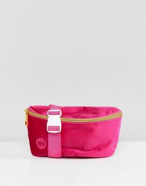 Mi-Pac Ярко-розовая бархатная сумка-кошелек на пояс. Цвет: розовый