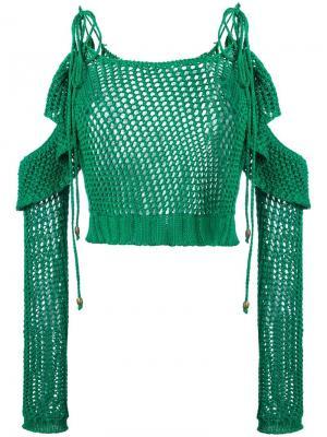 Сетчатая трикотажная блузка Philosophy Di Lorenzo Serafini. Цвет: зелёный